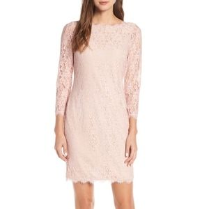 Eliza J Embroidered Lace Sheath Blush Dress 642